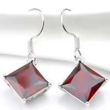 Square Cut Huge Gemstone Red Fire Garnet Solid Silver Dangle Earrings