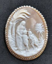Large Antique Shell Cameo 9ct Gold Seed Pearl Brooch Pin Mary Jesus And John