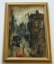 OLD AMERICAN PAINTING NEW YORK CHICAGO WPA STYLE CITY  REGIONALISM  URBAN MOD