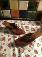 PIKOLINOS Ladies Red Genuine Leather Buckle Trim Backless Mules Shoes Size 5