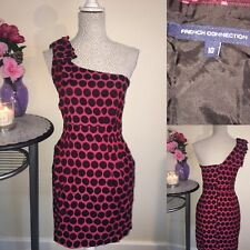 French Conection Size 12 One Shoulder Dress Pink Spotted Vintage Retro Formal