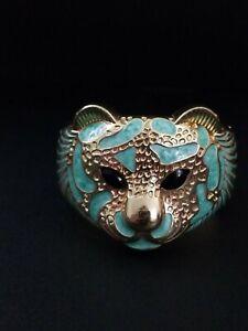 Gold Pearlescent Turquoise Green Enamel Cat Tiger Bracelet