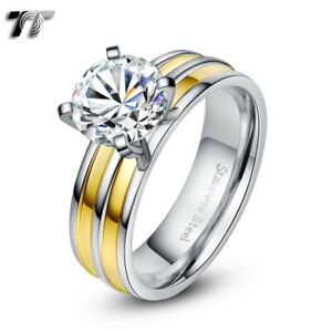 TT Two -Tone Gold Stripe S.Steel Wedding Band Comfort fit Ring (R295) Size 6-10