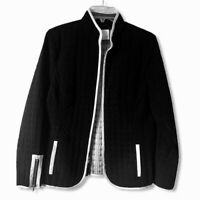 Signature For You Womens Jacket Coat Black White Zip Up Lined Quilted Pockets 8
