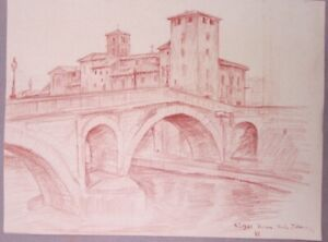 DRAWING OF A CHURCH AND BRIDGE IN ROME ITALY WELL DONE CIRCA 1925 CONTE CRAYON