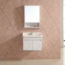 White Modern Bathroom Wall Hung Vanity Basin Sink Unit With Mirror Free Taps