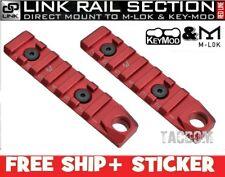 Strike Industries 2 Pack Red Link 7-Slot Picatinny Rail Section KeyMod & M-Lok