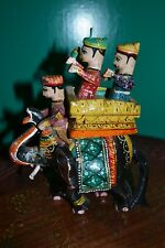 Vintage Hand Painted Wooden Elephant Statue with People Sitting.