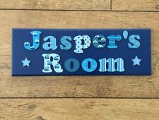 BESPOKE CHILDRENS BOYS WOODEN NAME PLAQUE personalised door/wall sign 2 WORDS