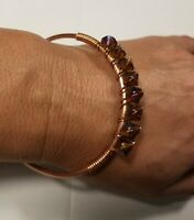 Solid Copper Handmade Bangle Bracelet Wire Wrapped Beads