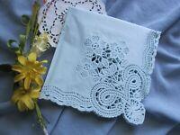 "3 PC Vtg Paper Napkin Square Doily Lace light blue tissue Craft Decoupage 13"" SQ"