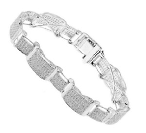 4.60CT Pave Cubic Zirconia Men's Amazing Bracelet In 925 Sterling Silver