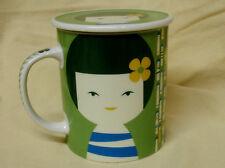 MINT Jewel Japanese Japan Kokeshi Doll Tea Coffee Mug Cup Anime Lid Green HTF