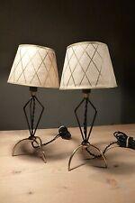 paire lampes metal noir cuivre abat jour peint vintage 50