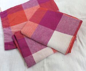Society of Wanderers Sherbet Check Linen Pillowcase Set of 2 *NWOT*