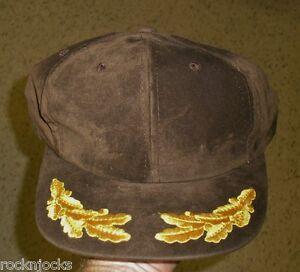 Brown Suede Vintage Snapback hat laurels leaf embroidered 90's
