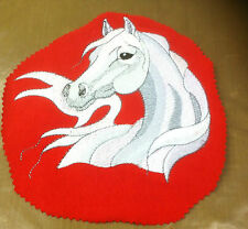 Large White Arabian Horse Embroidered Patch