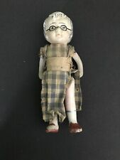 "Vintage 4"" All Bisque Grandma Doll -Painted Glasses- Japan"