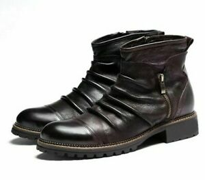 Leather Boots Men Shoes Retro Zipper Ankle Booties Breathable Footwear Accessory