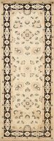 Floral Oriental Hand-knotted Runner Rug Wool 2x6 ft New Ivory Traditional Carpet