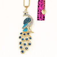 Women's Sea Blue Enamel Crystal Peacock Pendant Betsey Johnson Animal Necklace