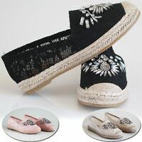 Ladies Women's Flats Slip On Summer Espadrilles Diamont Pumps Sandals Shoes 3-8