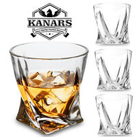 Twisted Whiskey Glasses Gift Set 4-Pieces Scotch Bourbon Glass Cup Heavy