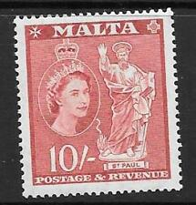 MALTA SG281 1956 10/- CARMINE RED MNH
