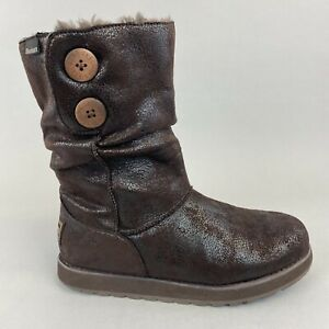 Skechers Australia Chocolate Slouch Button Mid Calf Pull On Winter Boots 39 UK6