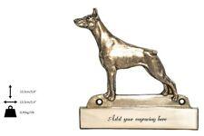 Doberman pincher - brass tablet with image of a dog, engraver, Art Dog USA