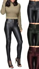 Womens PU High Pants Fit Shiny Jeans Slim Stretch LOOK Wet Waisted Trousers Wine - 2085bs UK 20