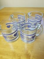 Set of Four (4) Quilted  Blue Hearts Mugs Clear Glass Coffee Tea Mugs