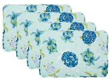 Set of 4 Quilted Placemats Blue Coastal Sea Turtle Nautical 12.5�L x 17.5�W