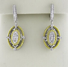 14K Yellow Gold Sterling Silver Women's Round Natural Diamonds .23 CTW Earrings