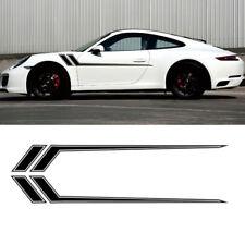 2x 172cm Schwarz Sport Aufkleber Schürze Tür Sticker Universal für BMW Porsche
