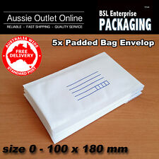 5 x Bubble Envelope #0 100x180mm Padded Bag Mailer SIZE 00 White Printed - AUNSW