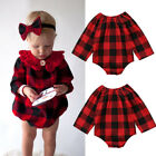 Infant Baby Girls Plaid Long Sleeve Romper Jumpsuit Outfits Clothes One-Piece