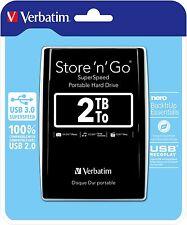 "($8 P & H) Verbatim 2.5"" Portable Hard Drive Black USB 3.0 / USB 2.0 2TB #53177"