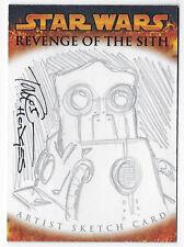 Star Wars Revenge of the Sith Topps sketch card Tom Hodges Wat Tambor
