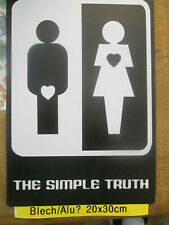 Damen + Herren Blech -Schild 20 cm x 30 cm weiß/schwarz / the simple truth