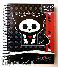 Goth : Petit Carnet de Notes Skelanimals Chat 'Kit' NOIR & ROUGE gothique