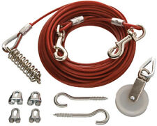 Dog Run Cable Kit 150 Lb Metal Wire Rope Pets Safe Clamps Pulley Exerciser NEW