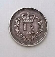 More details for 1843 three halfpence coin queen victoria silver very fine