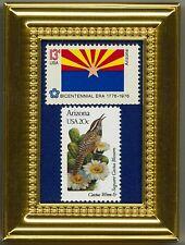 ARIZONA STATE FLAG, BIRD & FLOWER FRAMED COLLECTIBLE POSTAGE MASTERPIECE!