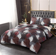 Brown Square Comforter Bedding Set Queen All Season with 2 Shams Comforter Sets