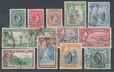Jamaica Sc 116-128 used 1938-1951 KGVI definitives, cplt set, F-VF