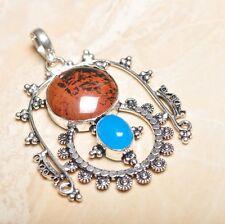 """Handmade Obsidian Mahogany Jasper 925 Sterling Silver Pendant 3"""" #P15596"""
