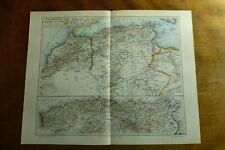 "c1900 Antique ALGERIA Morocco Tunisia AFRICA MAP Engraving German Print 9½""x 12"""