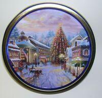 Town Flag Tree Horse Buggy Christmas Tin Box