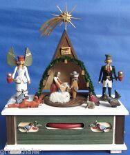 Spieluhr / Spieldose Christi Geburt Krippe Engel Bergmann Erzgebirge Steglich